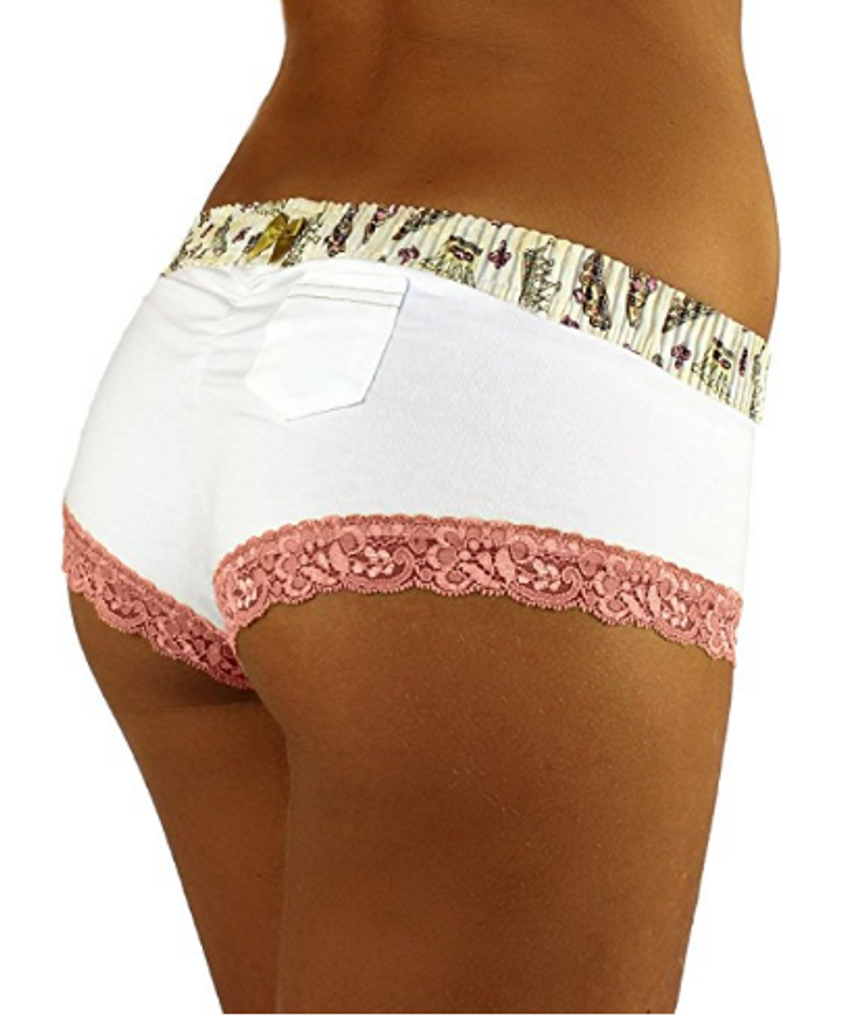 White Boyshort  with Royal Day Waistband