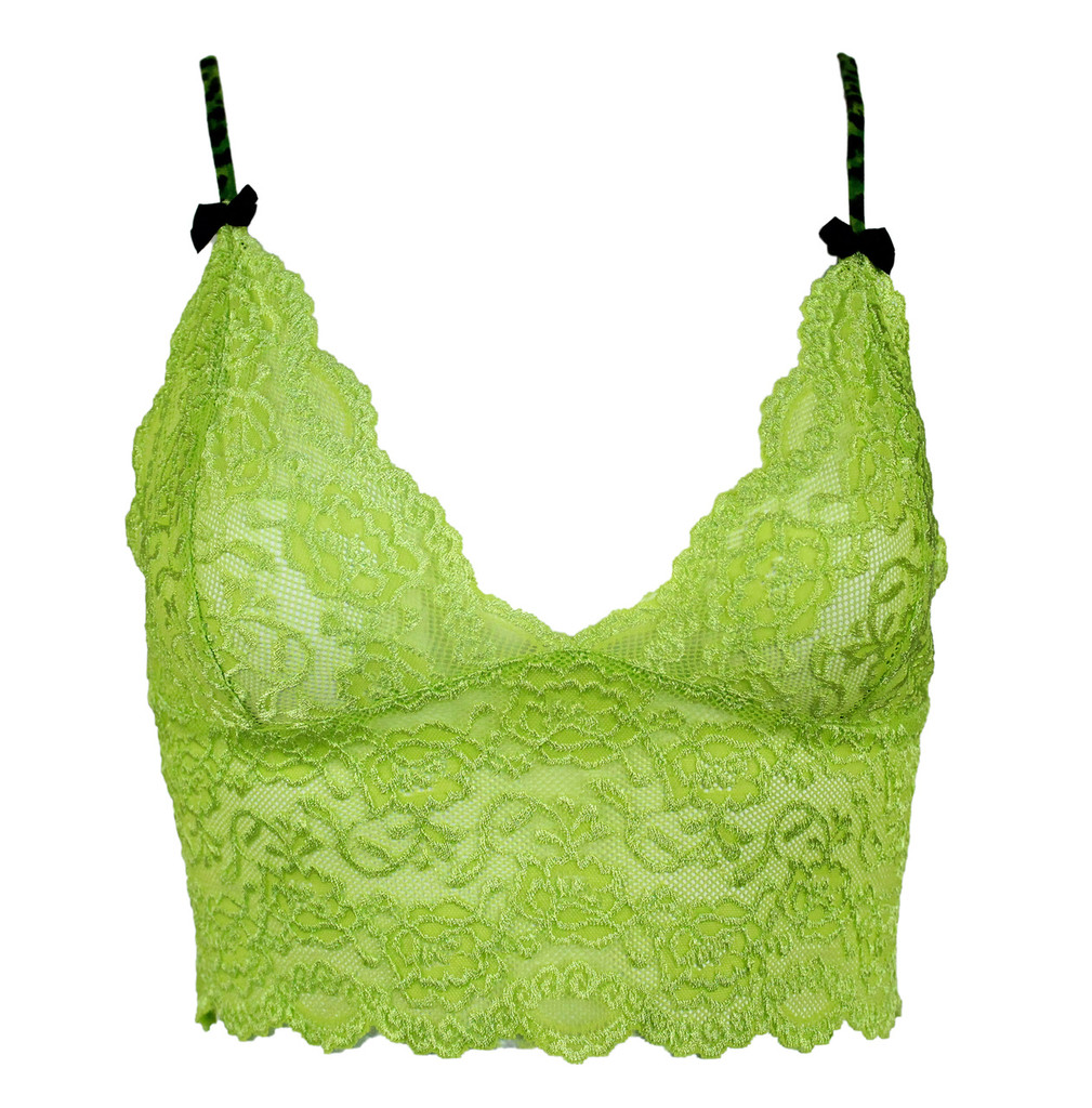 Lime Green Lace Cropped Camisole with Leopard Envy Straps