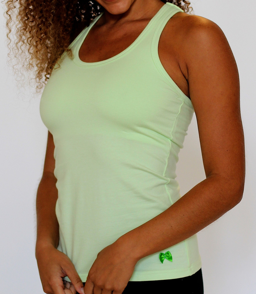 lime green racerback with built in shelf bra