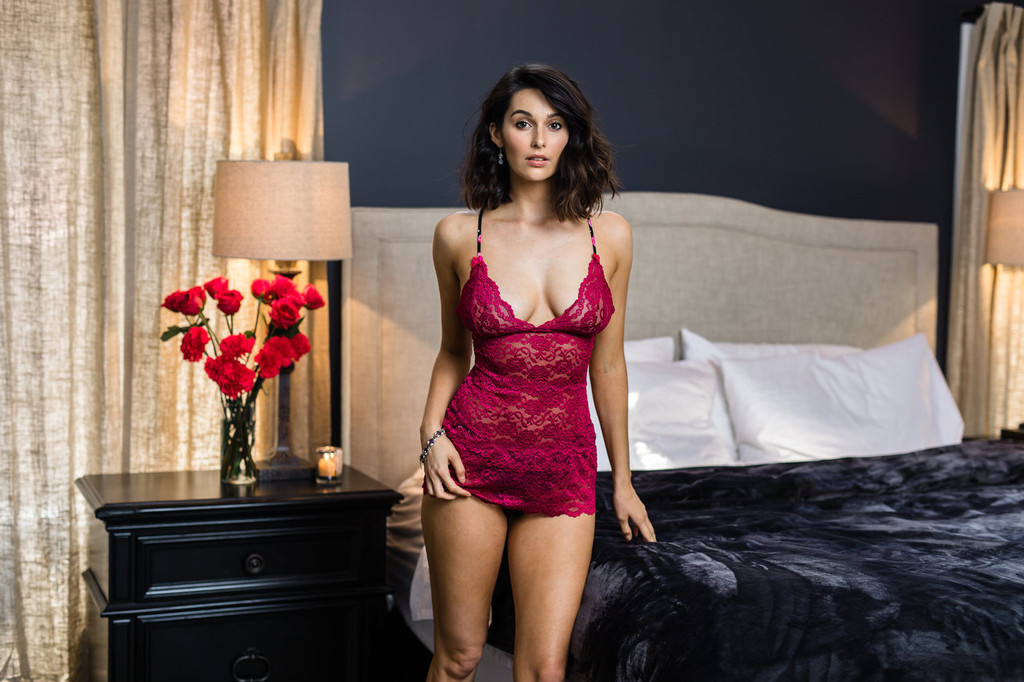 3 row dark rose lace cami can be worn as chemise