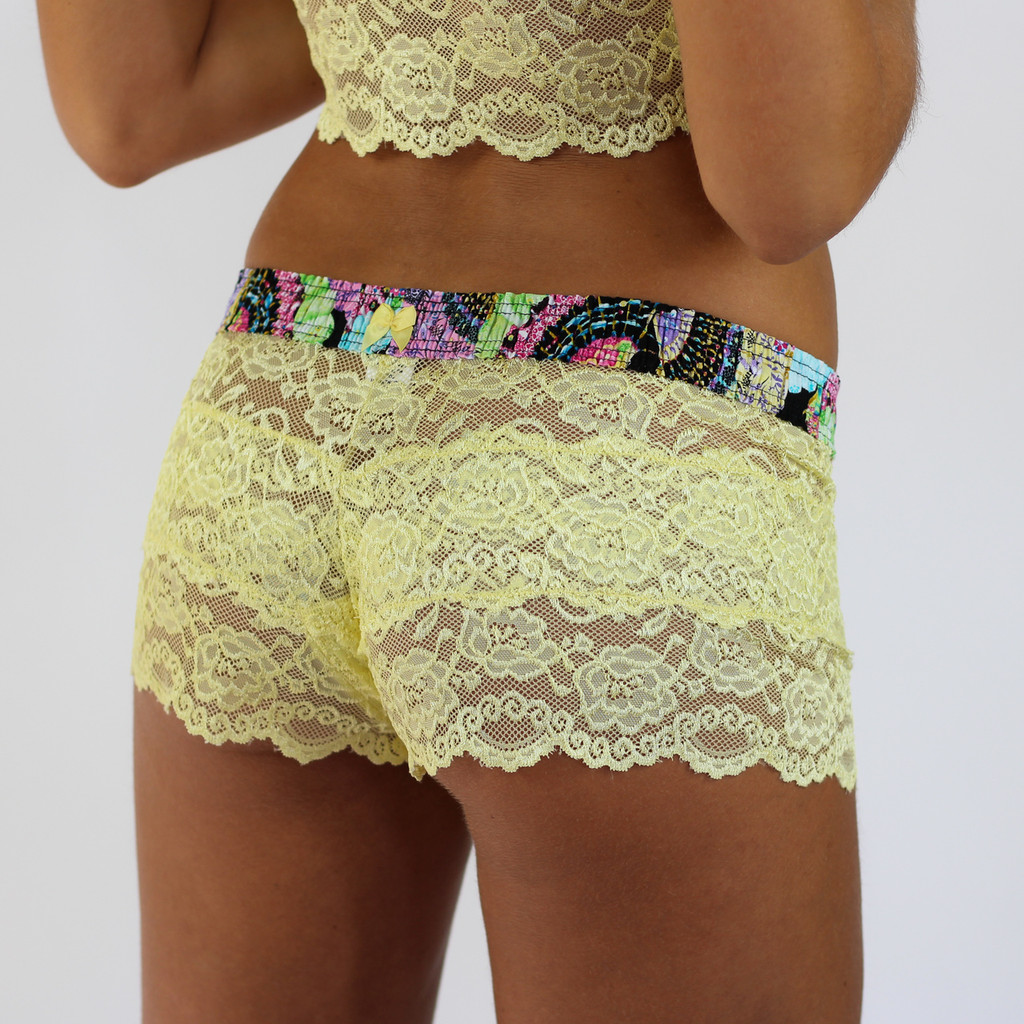 Yellow Lace boxer for women