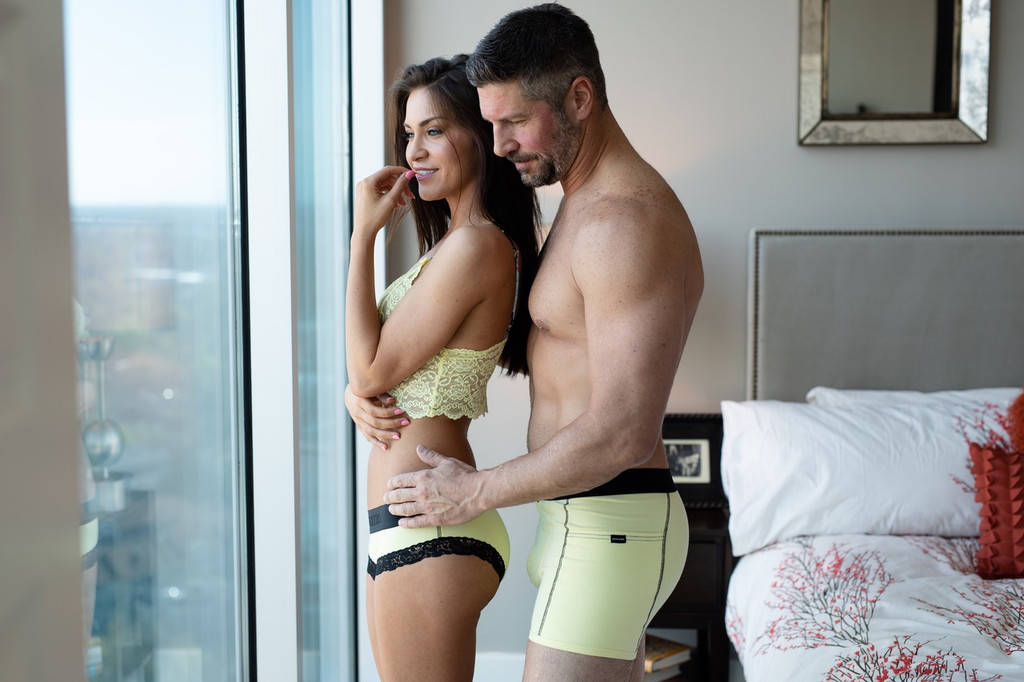 Matching couples underwear in yellow