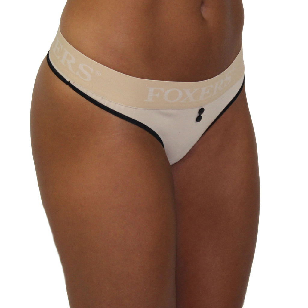 sand colored thong with black trim