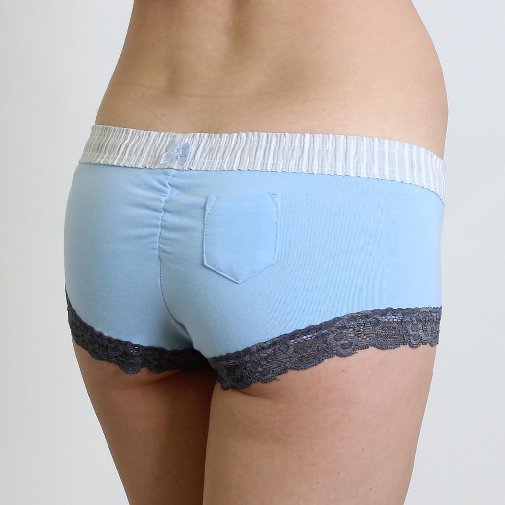 Lipstick Pocket Back | Light Blue Boy Shorts