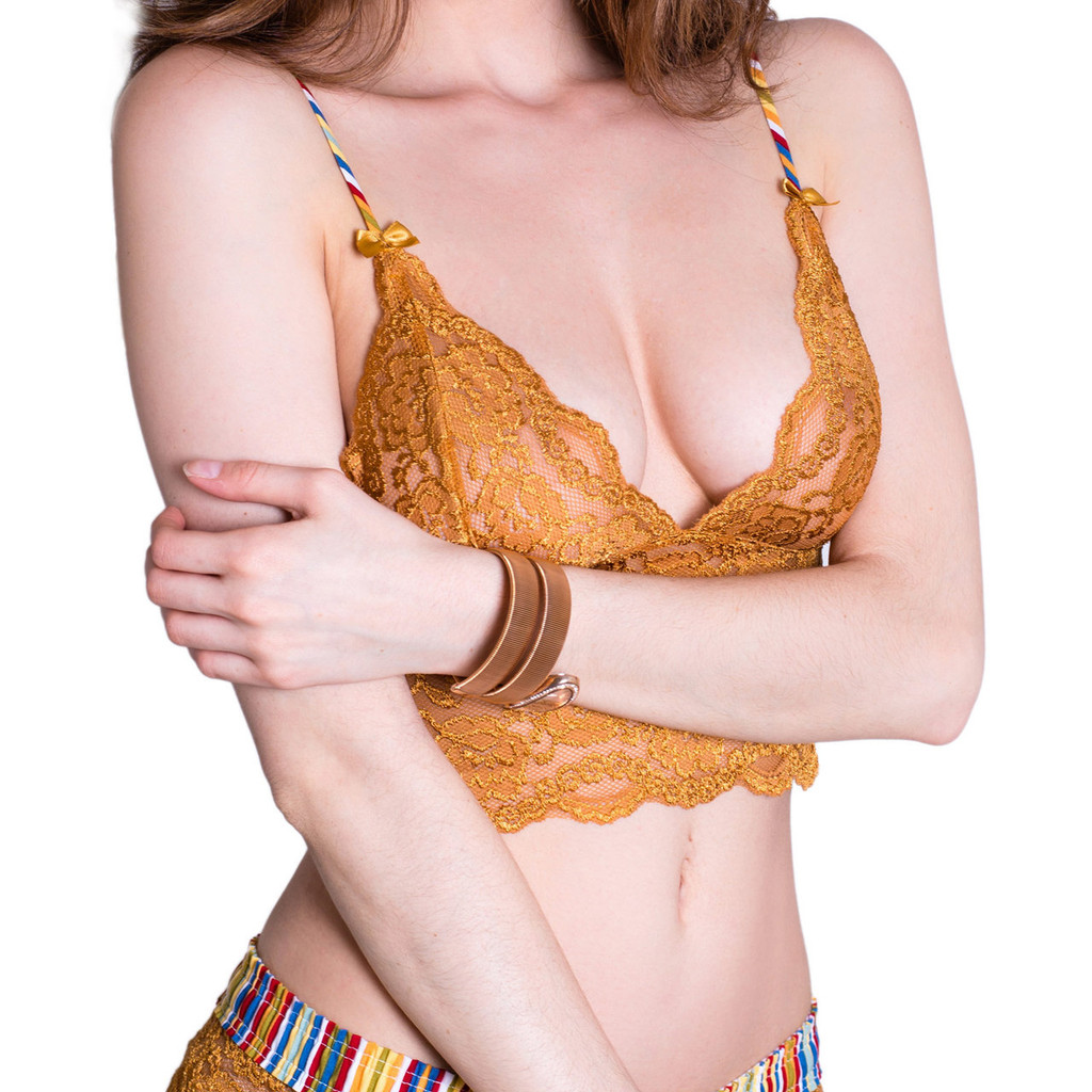 Gold Lace Bralette Cami with Cruise Straps
