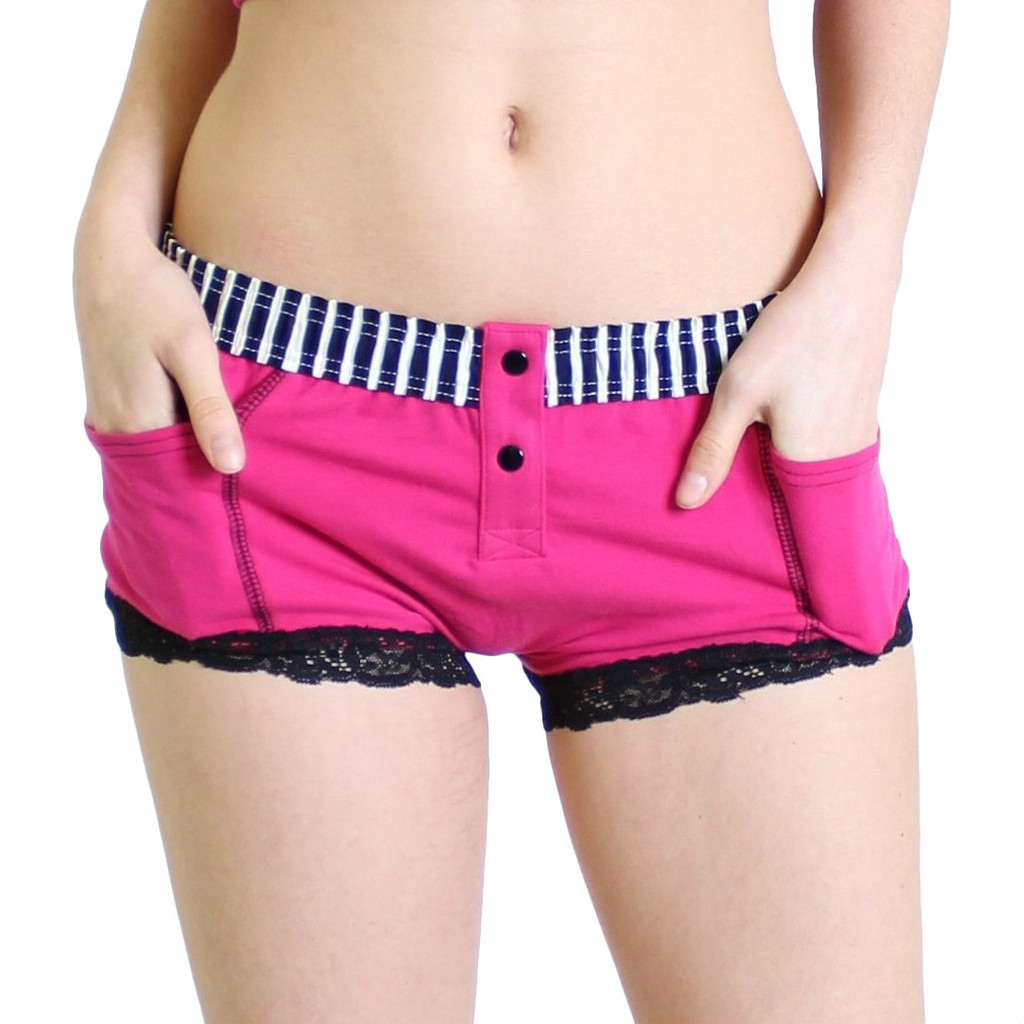 Hot Pink Fuchsia Boxer Brief Black white Stripe FOXERS Band