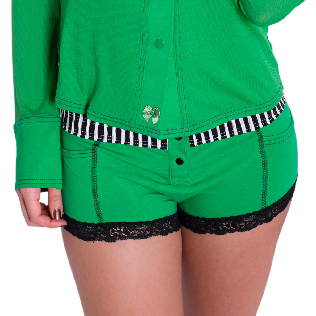 Green Boxer Briefs for women with a black and white striped waistband.