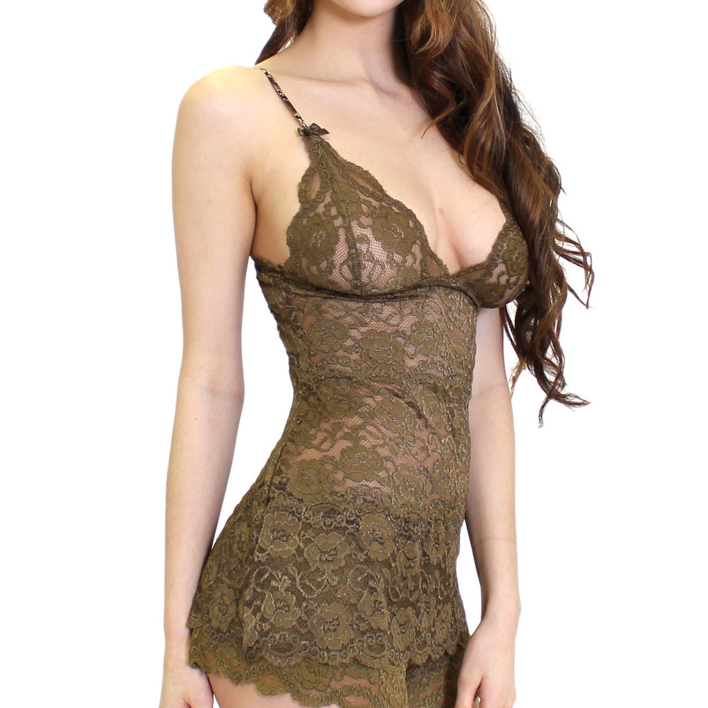 Hip Length Olive Lace Negligee