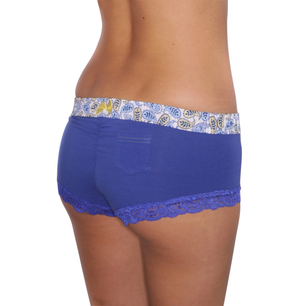 Royal Blue Boyshort with Paisley Waistband