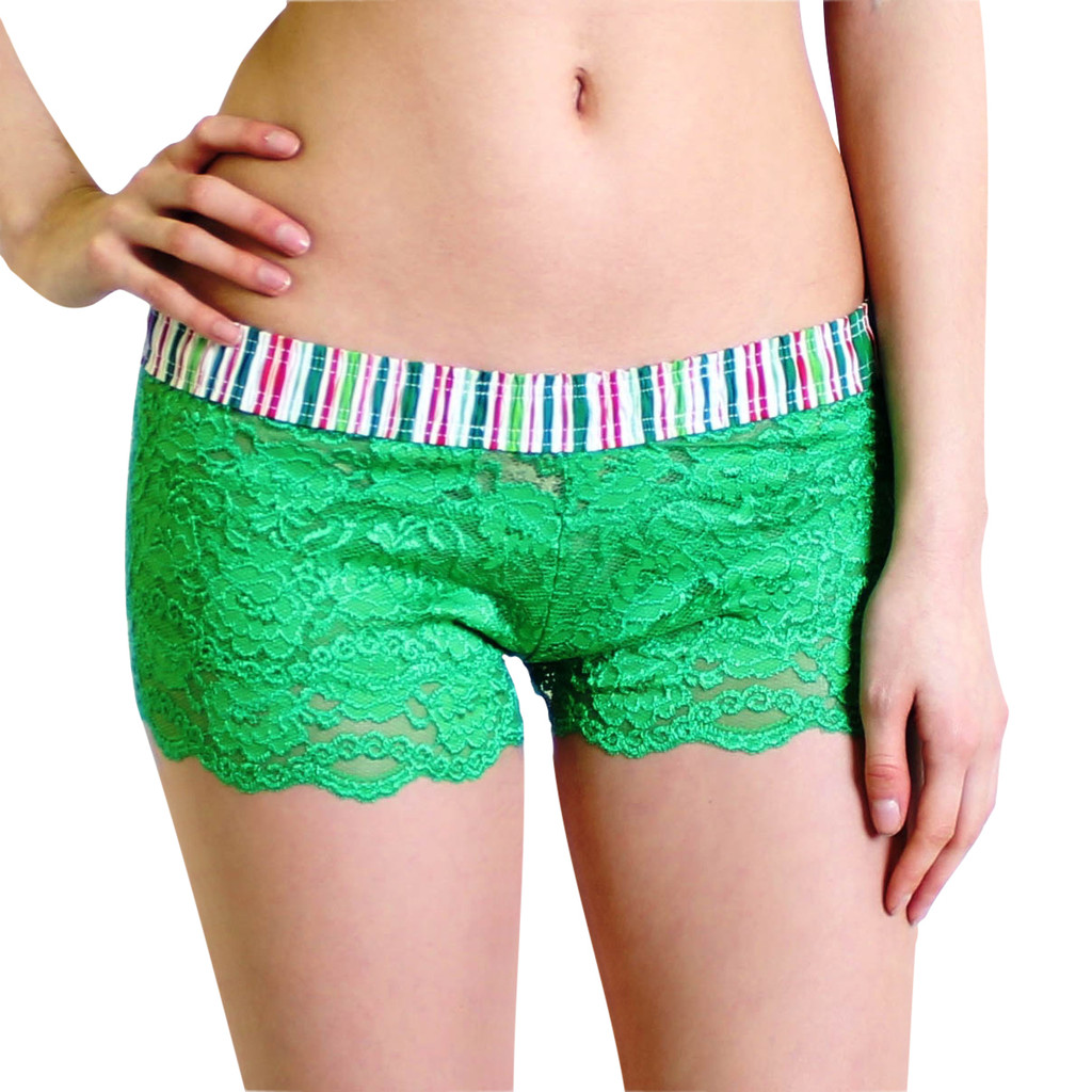 Green Lace Boxer with Red Green Striped Waistband