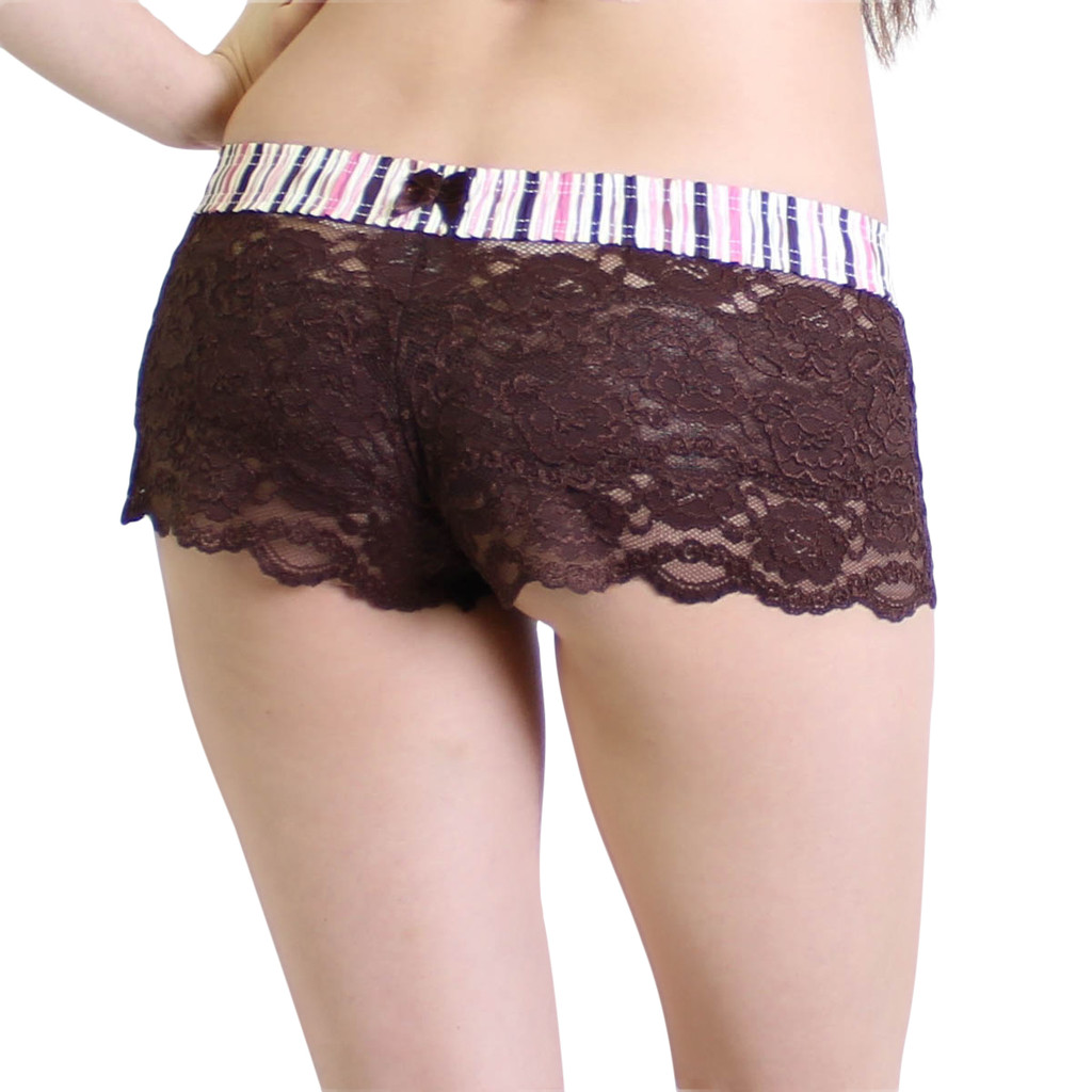 Brown Lace Boxers with Pink Brown Striped Waistband