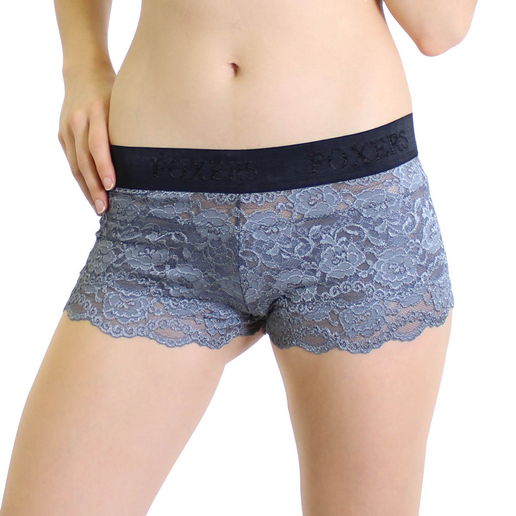 Charcoal Gray Lace Boxer with Black Logo Waistband