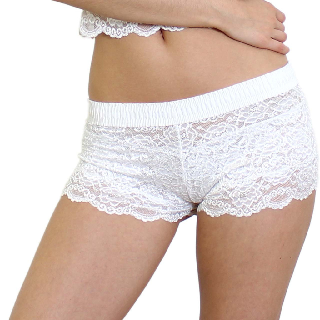 White Lace Boxers with White FOXERS Cotton Waistband