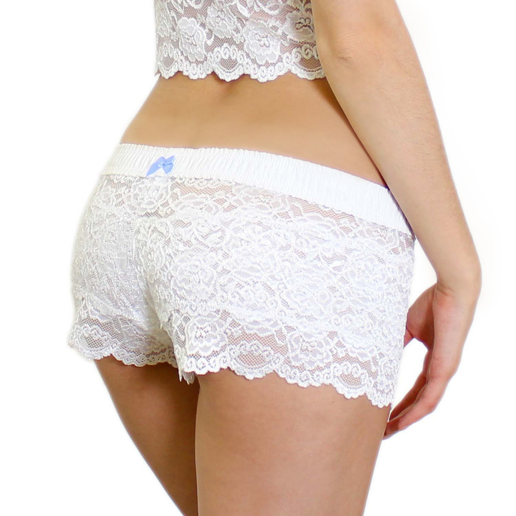 White Lace Bridal Panties with Something Blue Bow