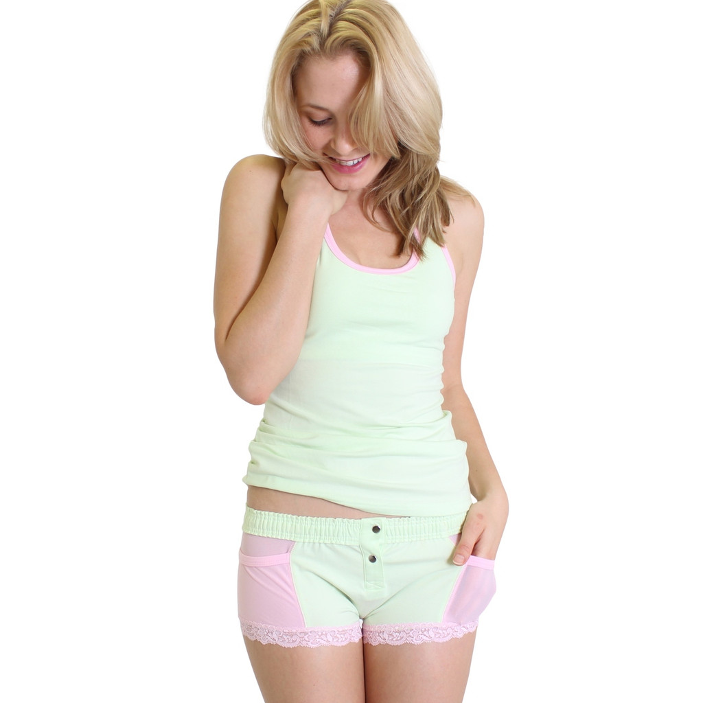 Mint Green Racer Back Bra Tank with Pink Trim