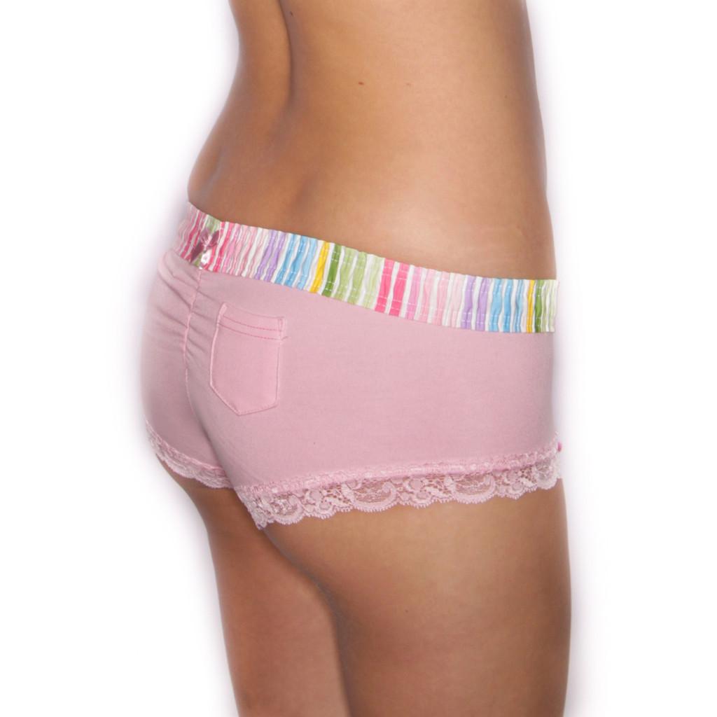 Pastel Stripe over Pink Boyshort