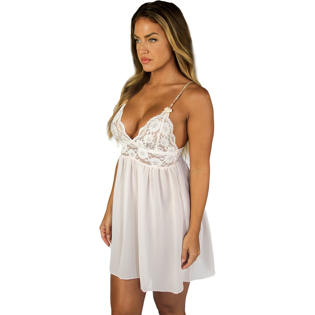 Blush Lace Night Gown | Chemise with Blush Straps