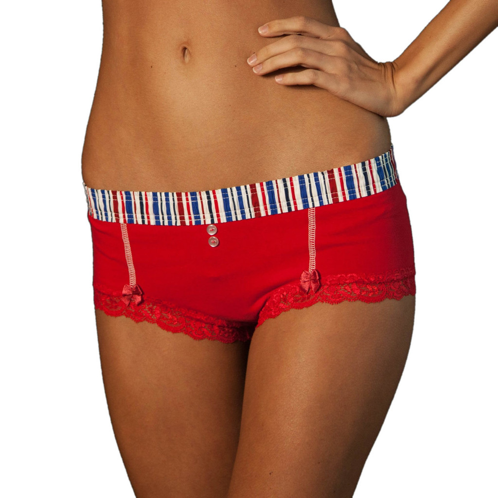Red White and Blue Stripe over Red Boyshort