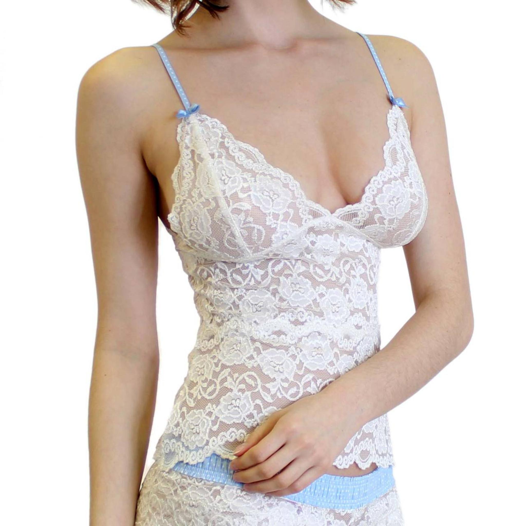 2202a72865e4f Light Blue Dot Adjustable Strap Swatch Ivory Lace Camisole Ivory Lace Soft Bra  Top ...