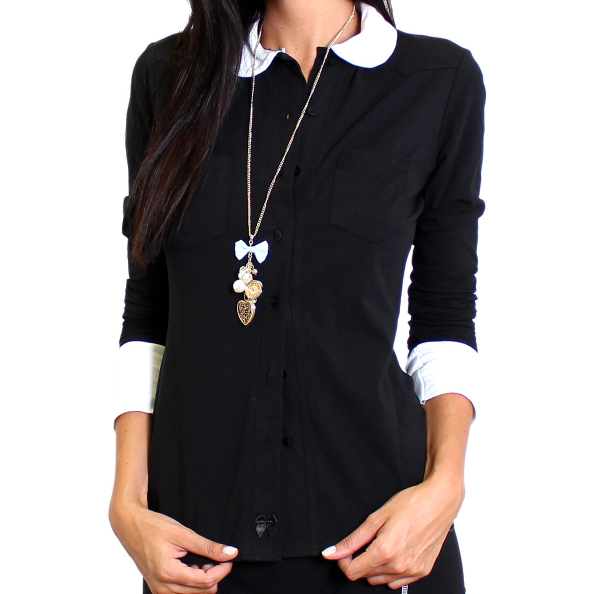 e37daf777a Womens Black Button Down Blouse with White Peter Pan Collar and Cuffs  Stylish ...