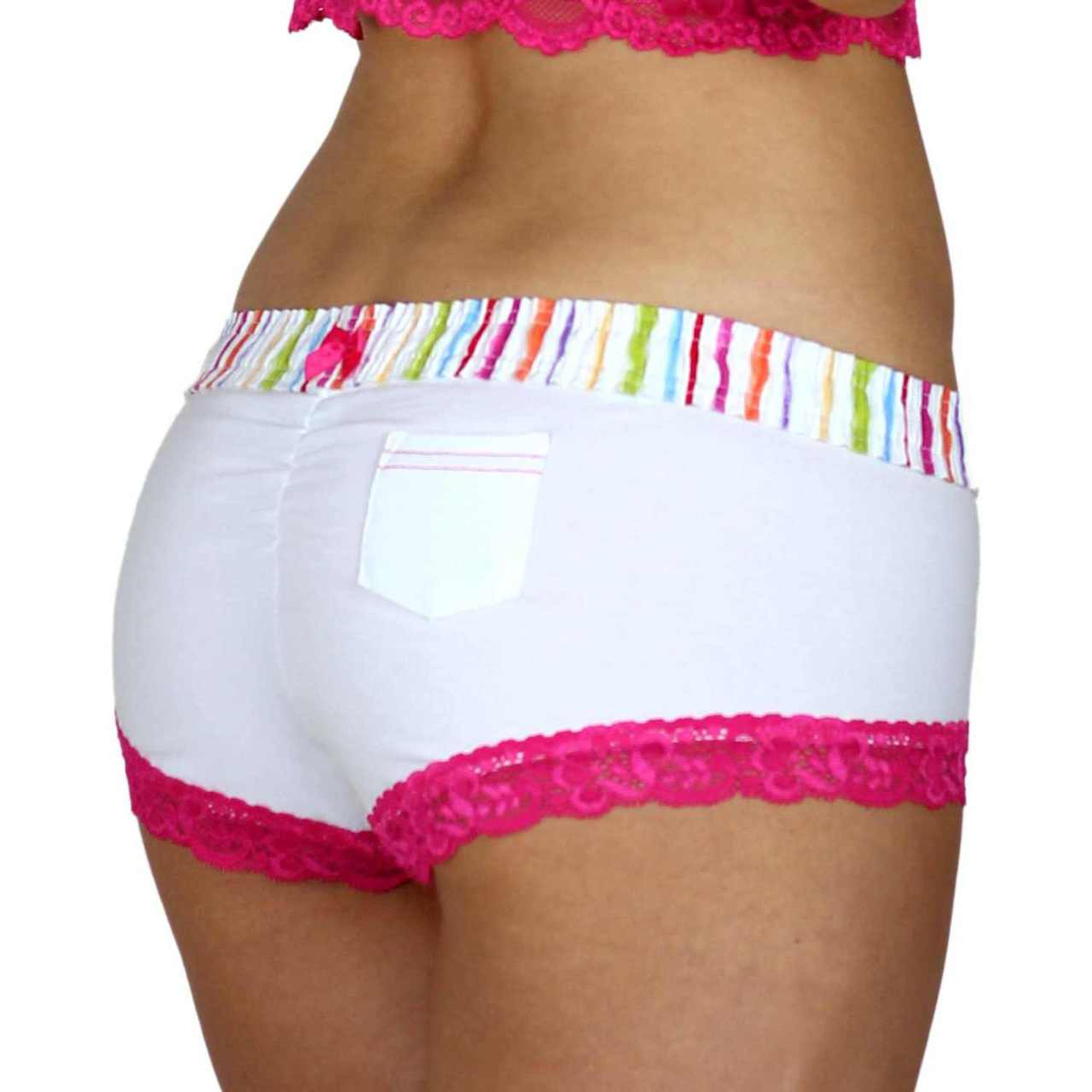 fb28b675ee8 ... White Boy Shorts Panties with Striped FOXERS Boxer Style Waistband ...
