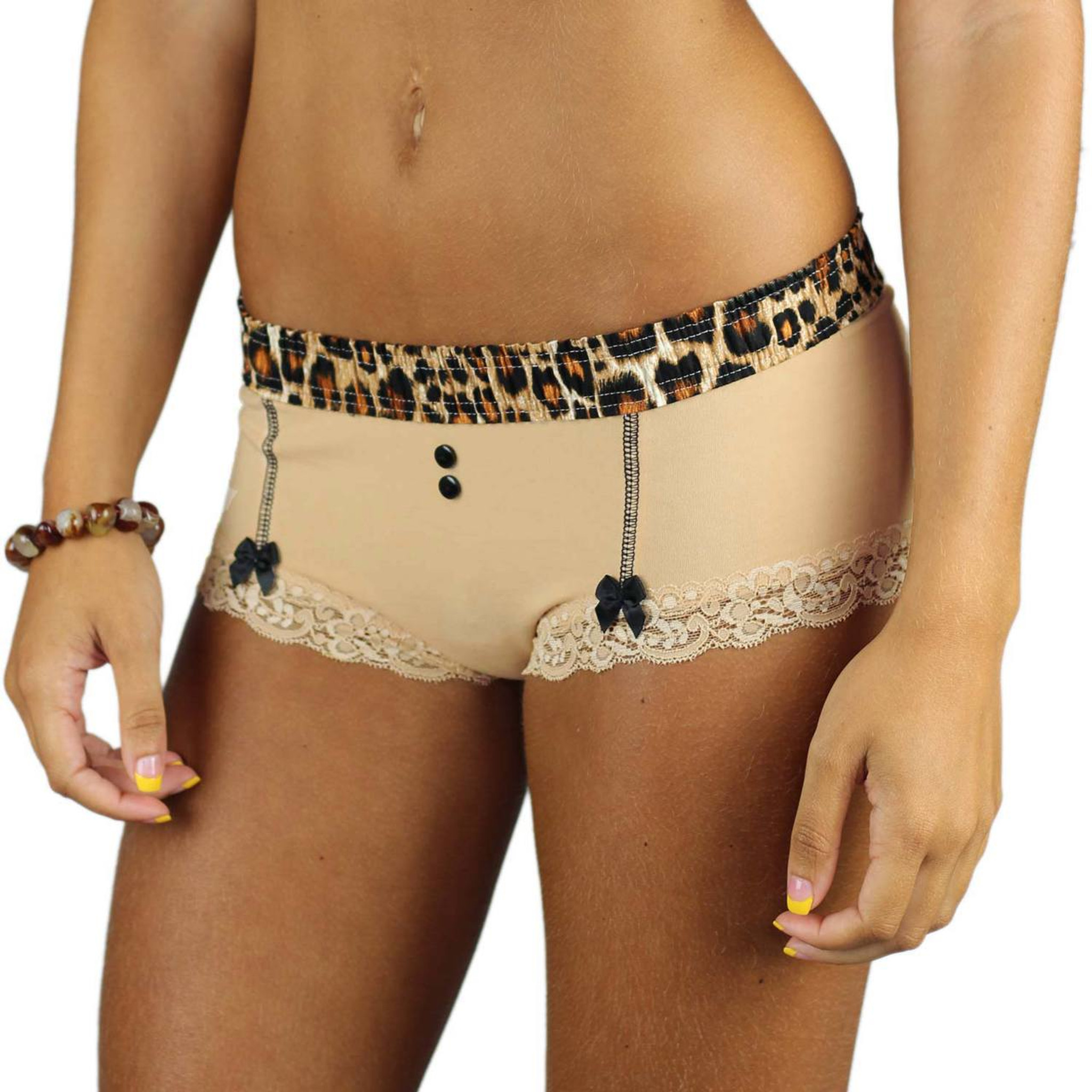 7334e59129a4 ... Nude Cotton Boyshorts with Leopard Print Waist and Black Bows ...