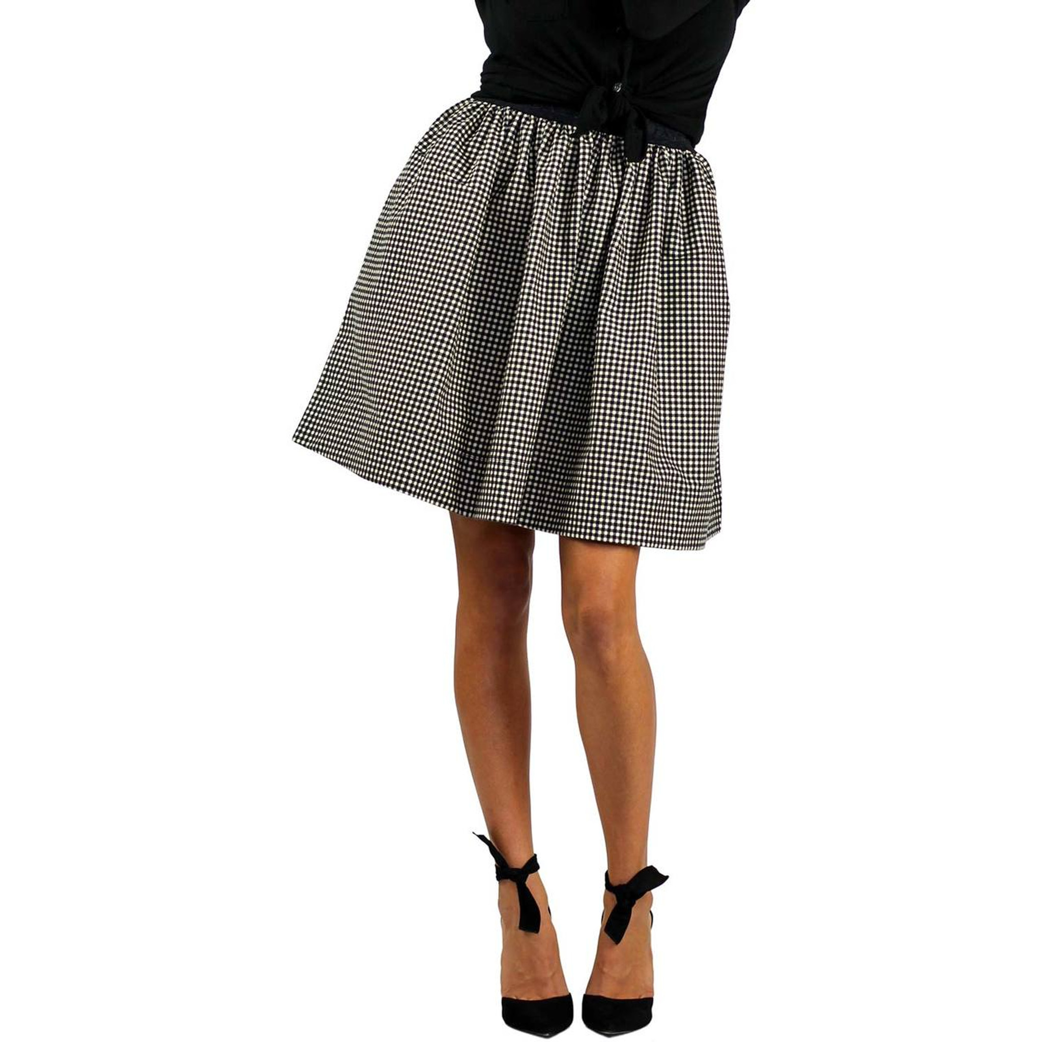 6dcf42bc6 ... Black & White Checkered Plaid Flannel Skirt With Pockets ...