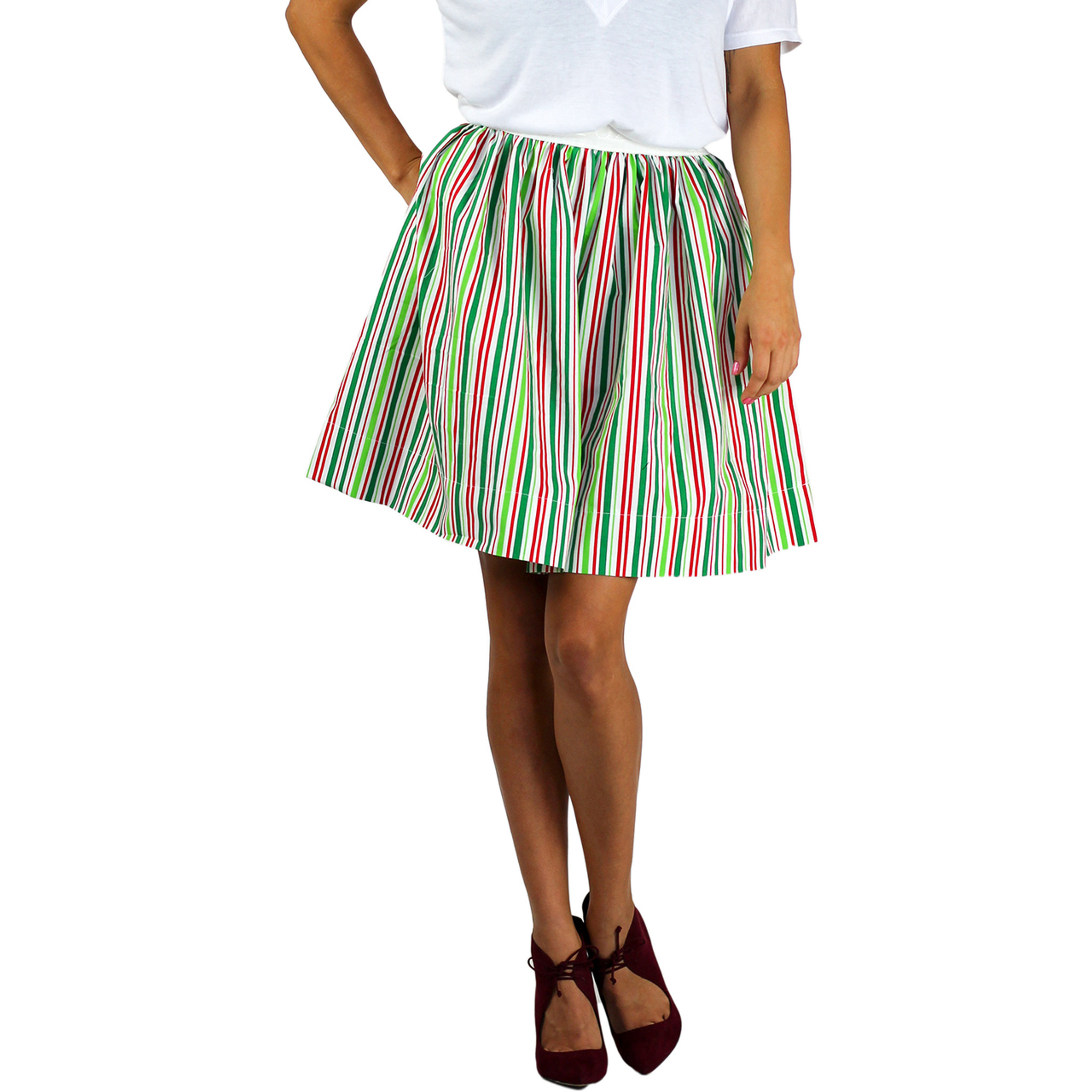 9ab972fd72 Red White & Green Striped Skirt With Pockets by FOXERS