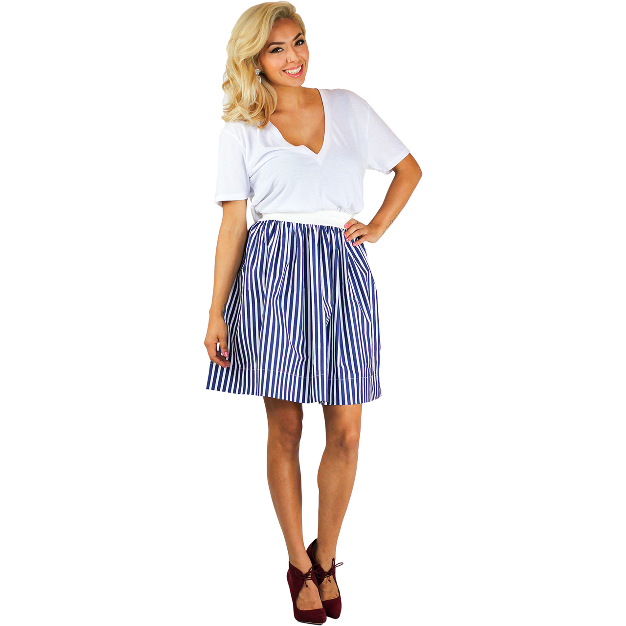 d1da33bc9f Navy Blue Striped Skirt With Pockets Foxers Navy & White Striped Skirt t  match our Lace Boxers ...