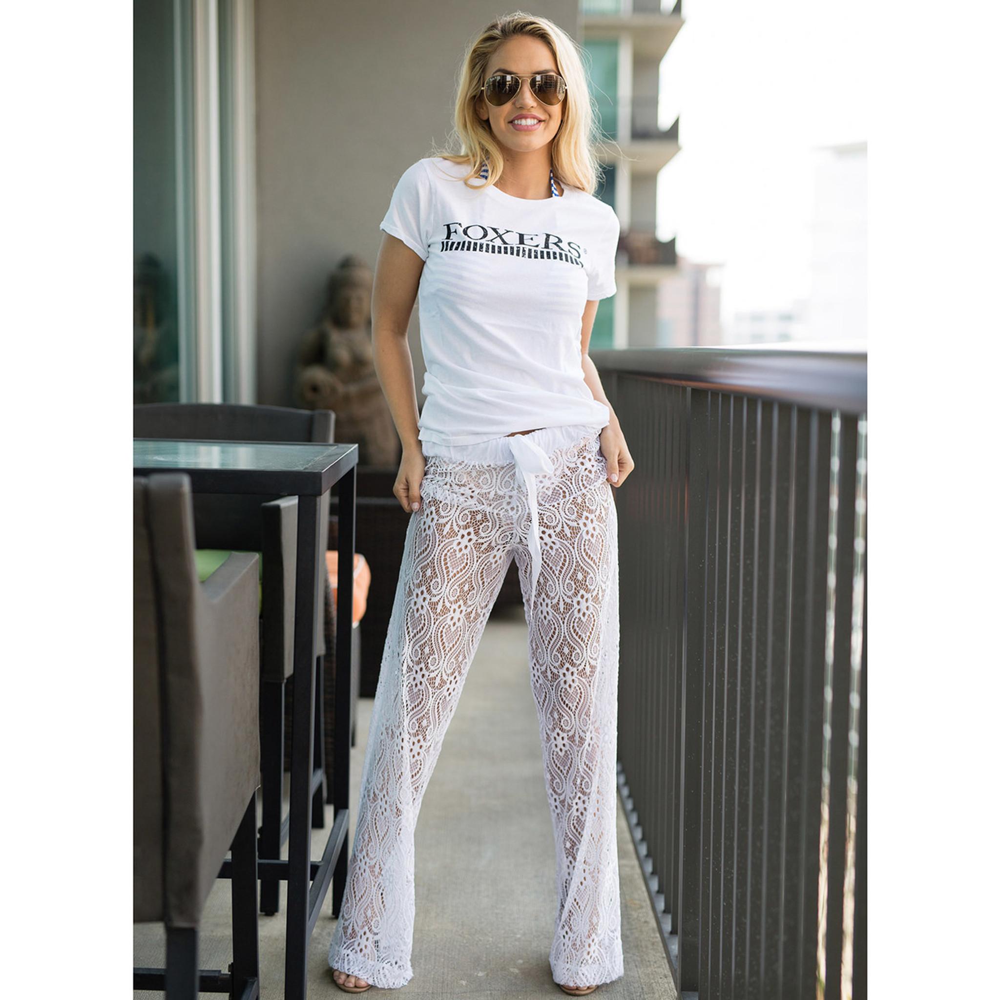 1e3c93fbc1 White Lace Palazzo Pants Swim Cover Up | FOXERS Loungewear for Women