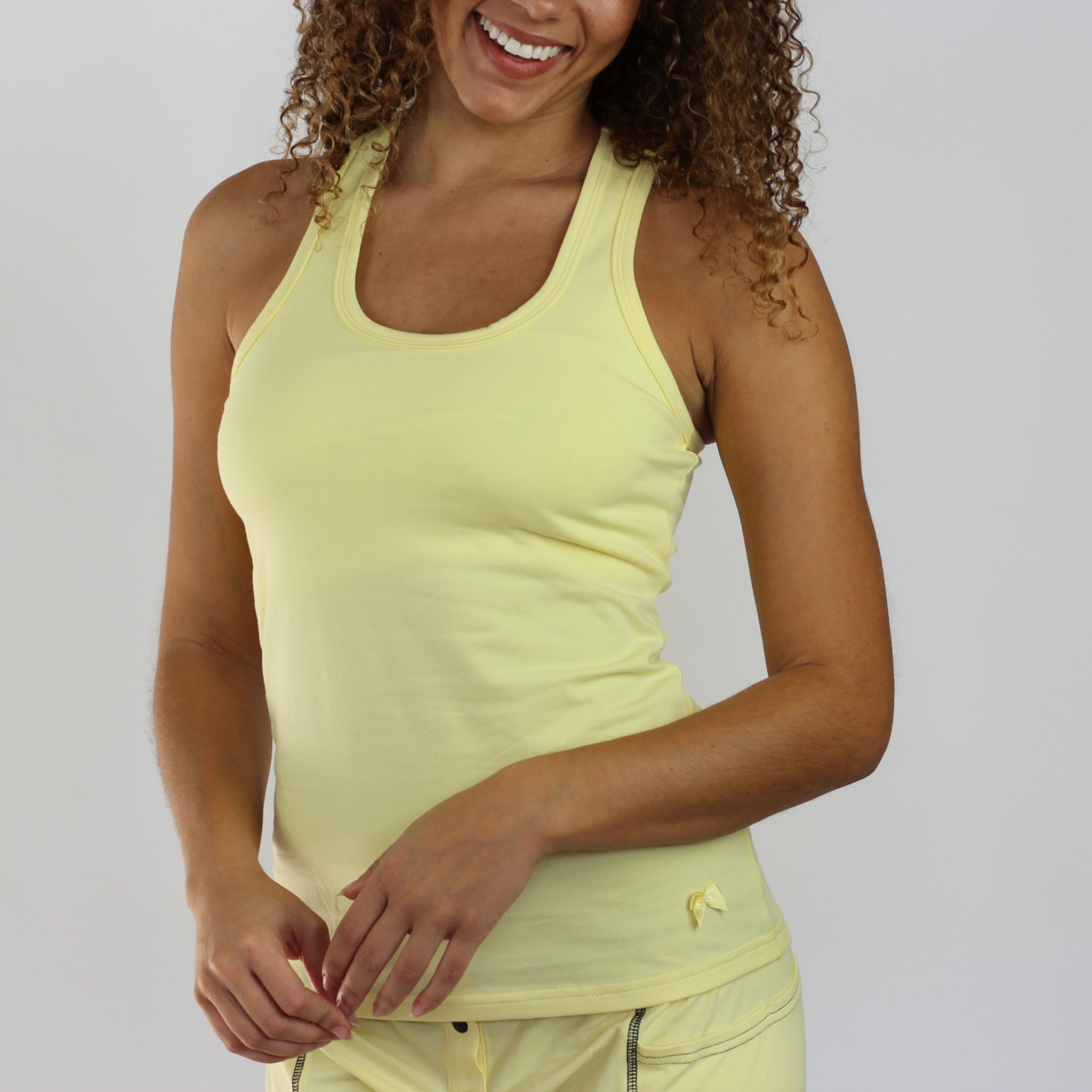 3f53bc8b45f152 Butter Yellow Racerback With Built in Shelf Bra