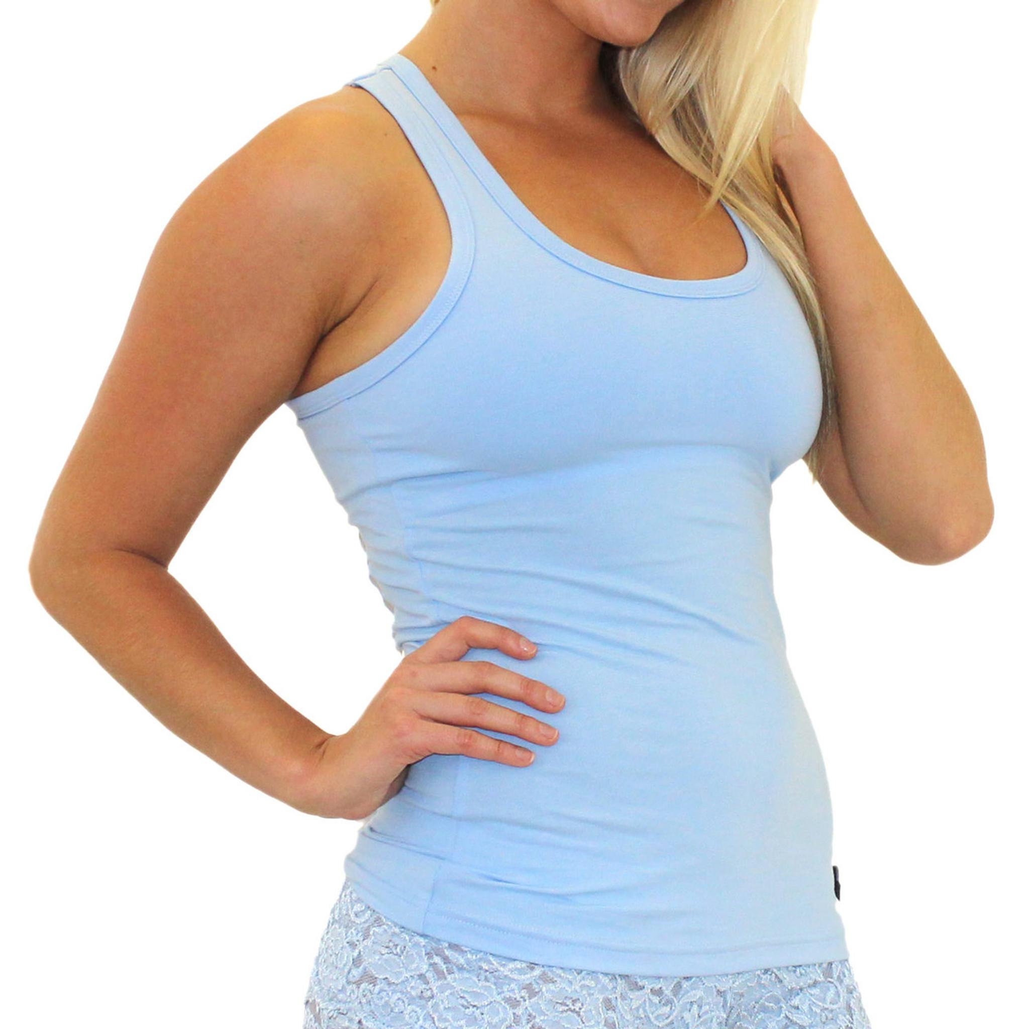 1c2566f390 Women s Light Blue Tank Top Shirt with Shelf Bra ...
