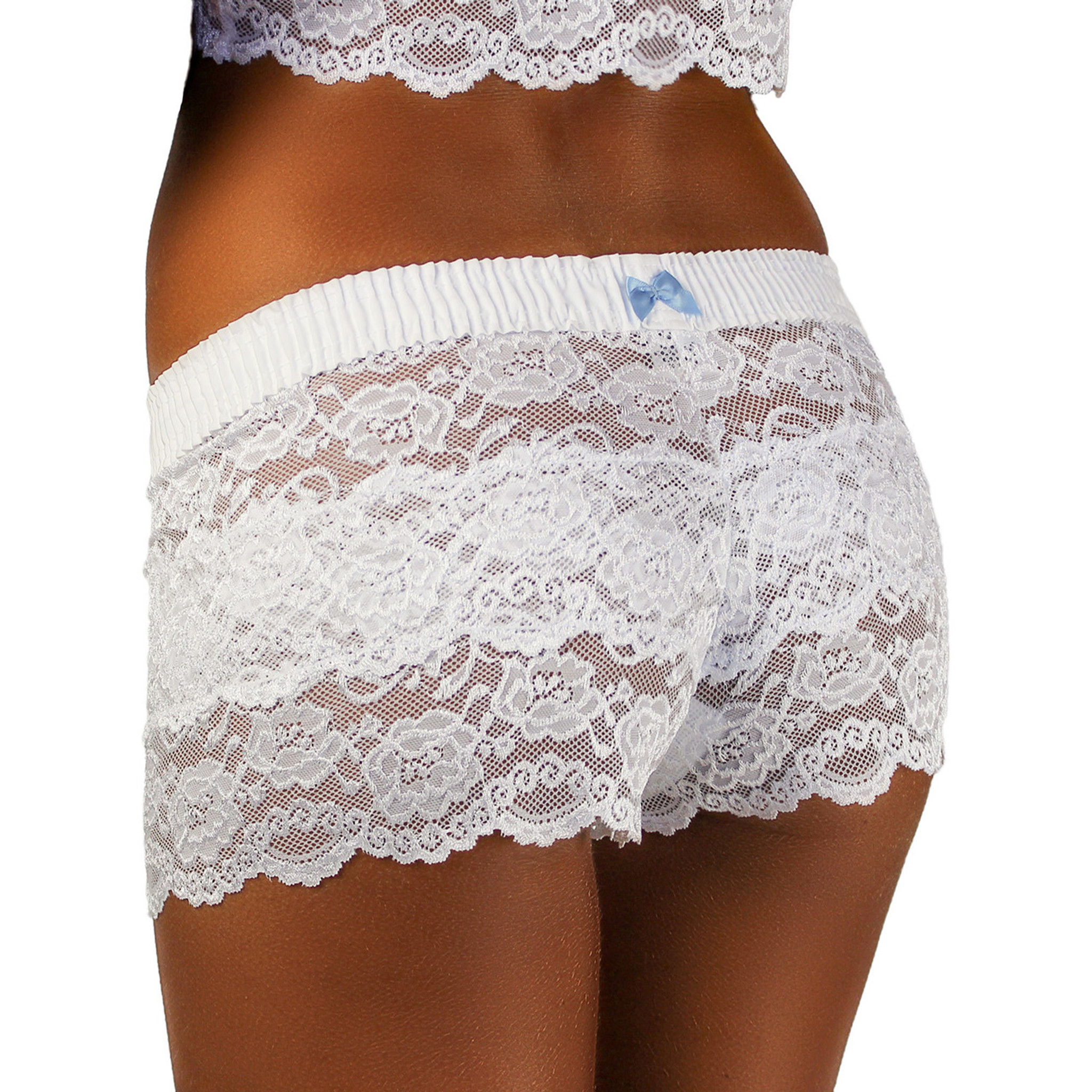 f35c0430c ... Ladies White Lace Boxer Boyshorts with light Blue bow. Great for Wedding  Lingerie!