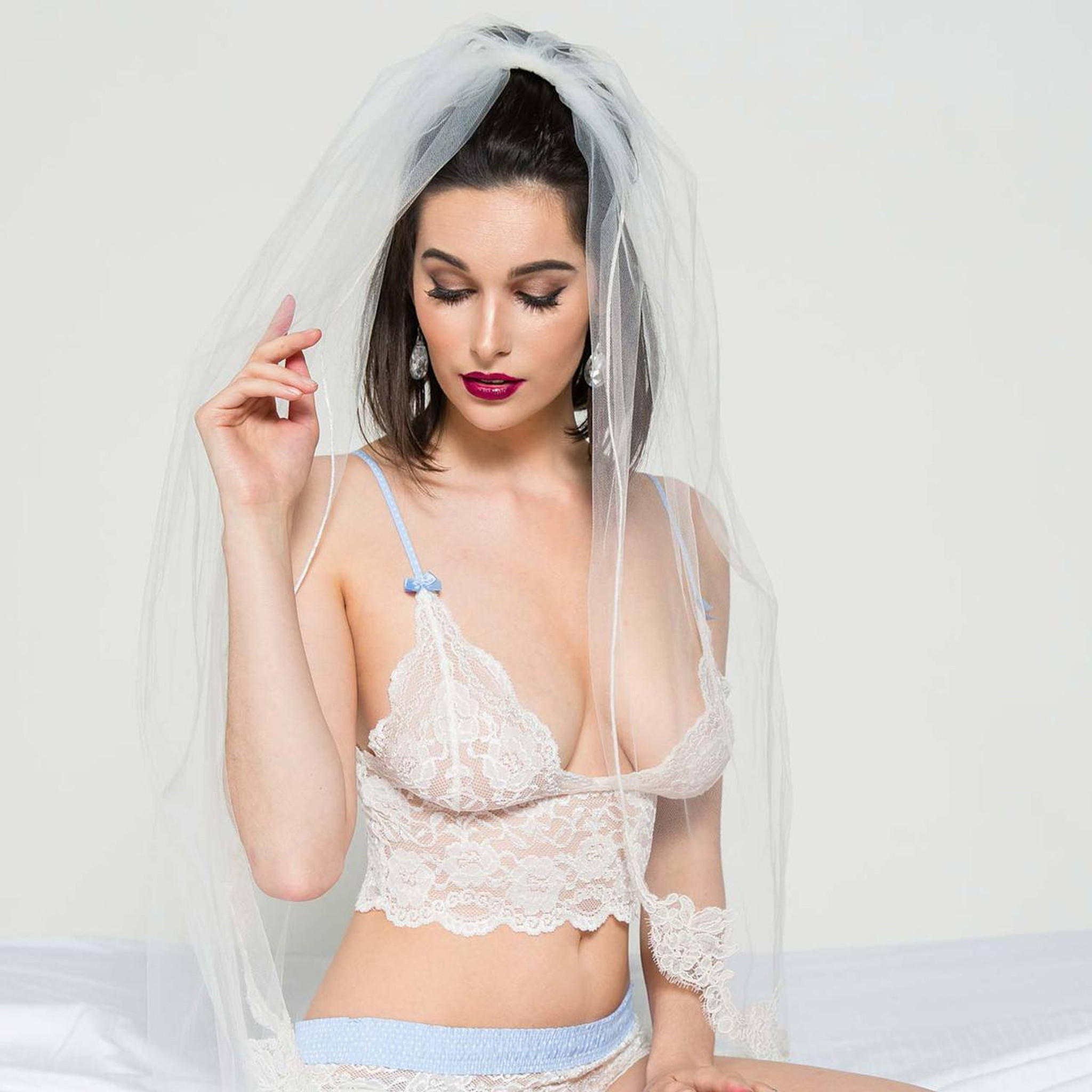 804bf7f5ee ... White Lace Bralette Camisole and matching White Lace Boxers make a  beautiful Wedding Lingerie Set Ivory Lace Top with Light Blue ...
