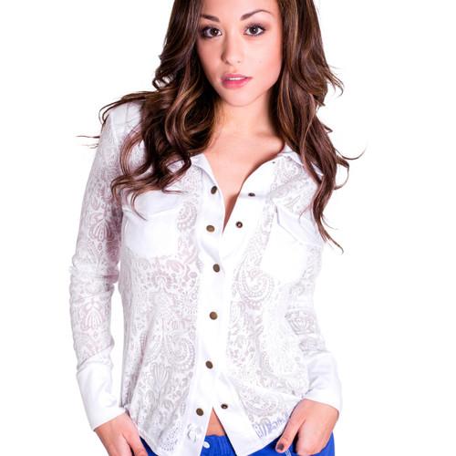 White paisley sheer nightshirt