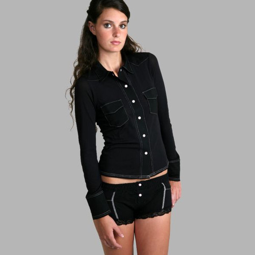 Black Sheer Western Lounge Top