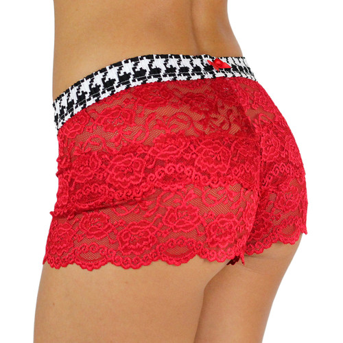 Houndstooth Waistband Red Panties