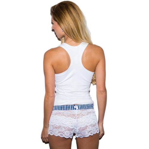 Foxers Racerback Tank Top and White Lace Boxers with Blue Waistband
