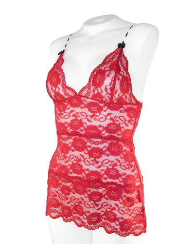 Red Lace Hip Length Camisole