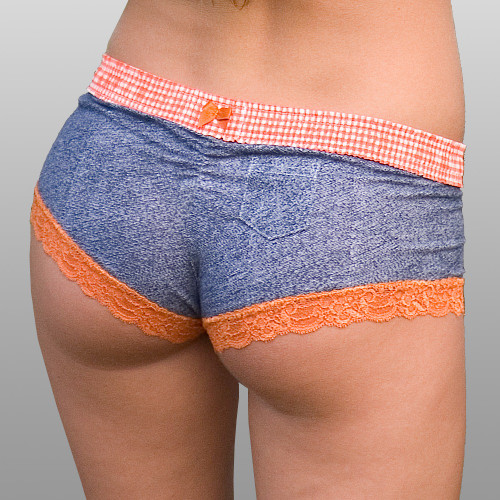 Orange Gingham over Denim print Boyshort