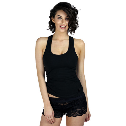 dcbad71ea3d Women s Black Racer Back Tanktop with built in Shelf Bra.