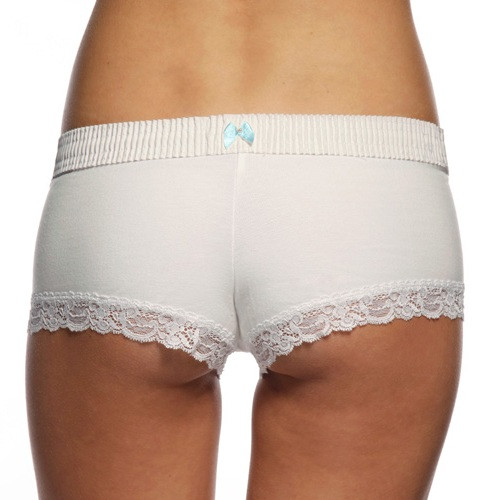 White / White Boyshort (Blue Bow)