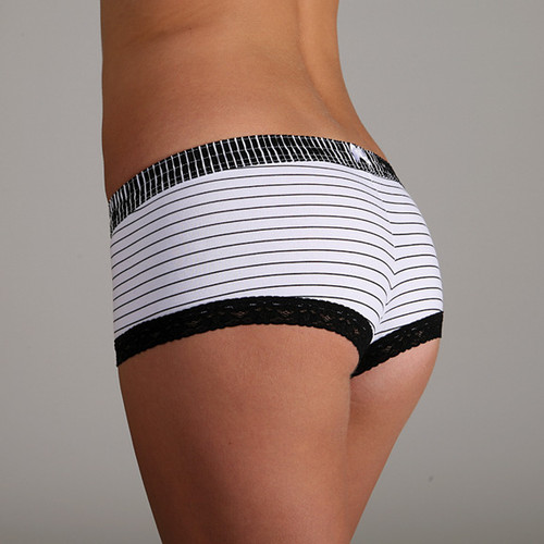 Black Stripe over Pinstripe Boyshort