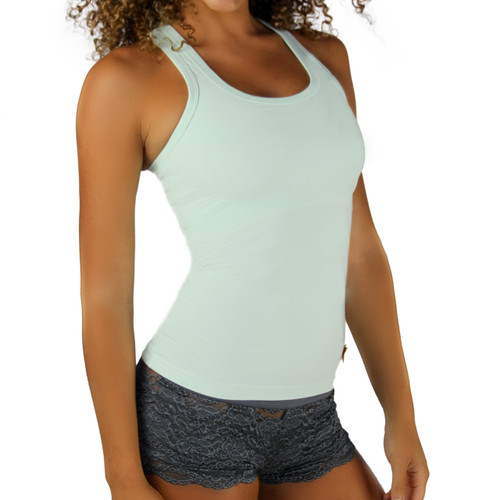 Light Green Mint Tank Top with Racerback and Built in Shelf Bra