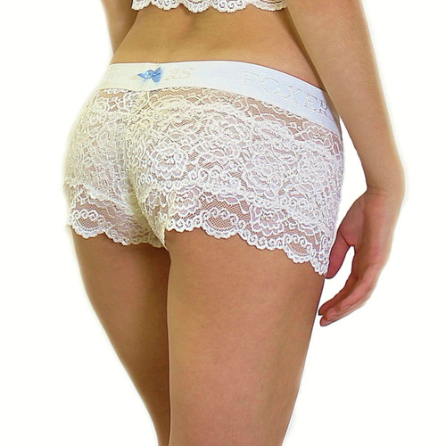 Ivory Lace Boxers Blue bow FOXERS Logo Band