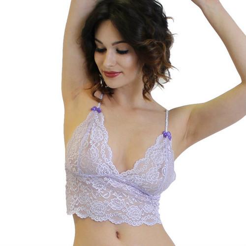 Purple Bows where the lavender lace meets the straps