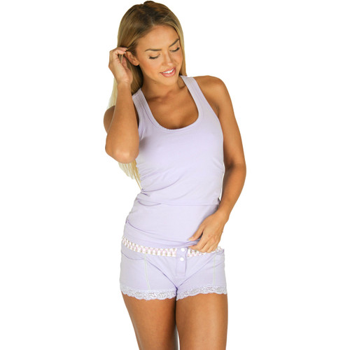 Lavender racerback tank top with built in bra