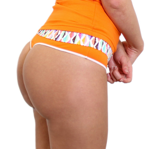 Orange Thong with Boxer Style Waistband