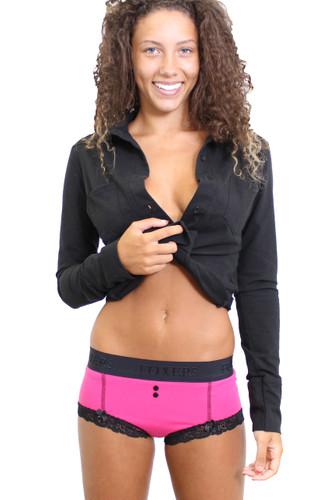 Fuchsia Boyshorts Pink Panties and FOXERS Black Equestrian Shirt