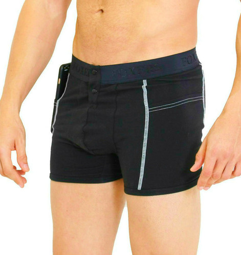Men's Black Boxer Brief with Logo FOXERS Band